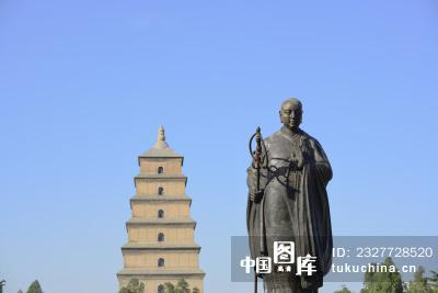 西安大雁塔玄奘雕塑