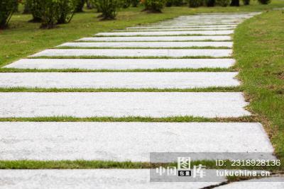 草地里的石板路