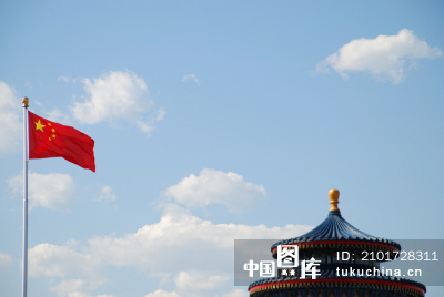 建筑物与中国国旗