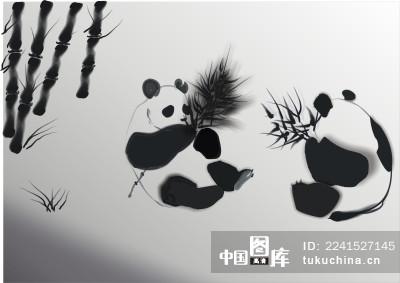 熊猫水墨画
