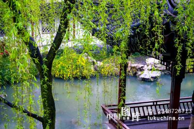 南京秦淮夫子庙瞻园 春天雨中风景